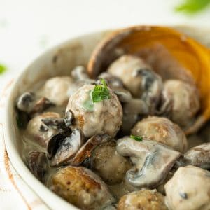 Close up Meatballs with Homemade Mushroom Sauce