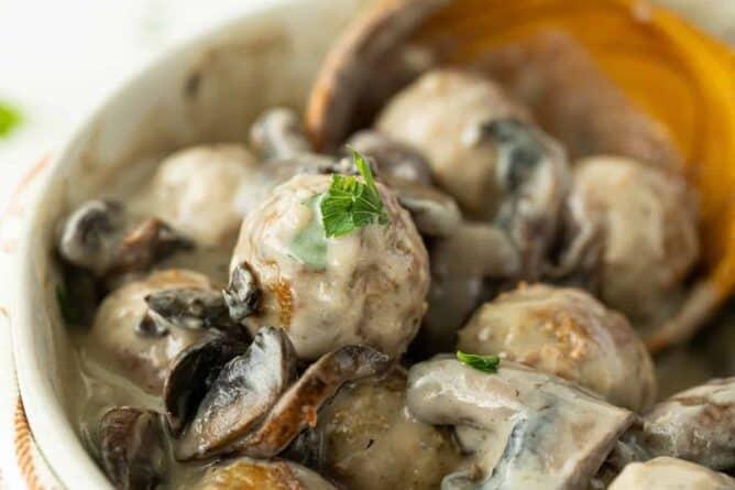 Close up Meatballs with Homemade Mushroom Sauce