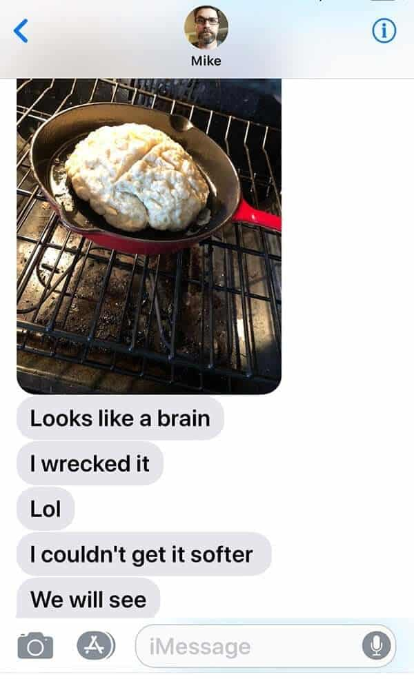 screen shot of a chat message with photo of Irish Soda Bread in Red Skillet