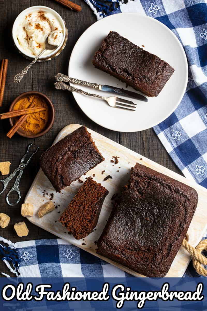 Old Fashioned Gingerbread is an actual gingerbread cake, a spicy and dark cake topped with simple whipped cream or even a cream cheese buttercream icing.