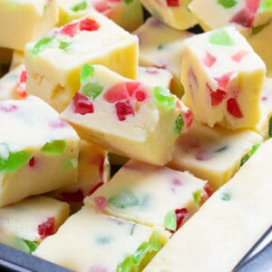 close up slices of Christmas Fudge on pan