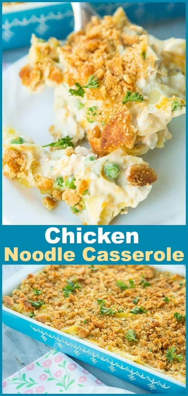 There is nothing like a classic Chicken and Egg Noodle Casserole to make you feel like you're at your Mom's or Grandma's dinner table again. This buttery Ritz topped chicken and egg noodle casserole is creamy, delicious and entirely soul-satisfying! #casserole #chicken #noodles #chickensoup #eggnoodles #recipe #dinner #supper #familyfood