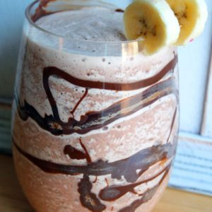 Close up of Chunky Monkey Cocktail Garnish with two slices of bananas