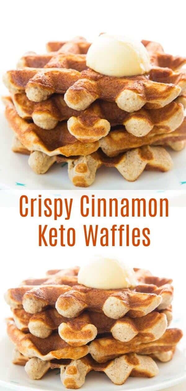 These Crispy Sweet Cinnamon Keto Waffles are perfect for waffles lovers that are on a low carb diet! They are sweet, so we topped them with some salted butter and they were heavenly! #keto #lowcarb #breakfast #waffles #almondflour #splenda #sugarfree #southbeach #recipe #brunch