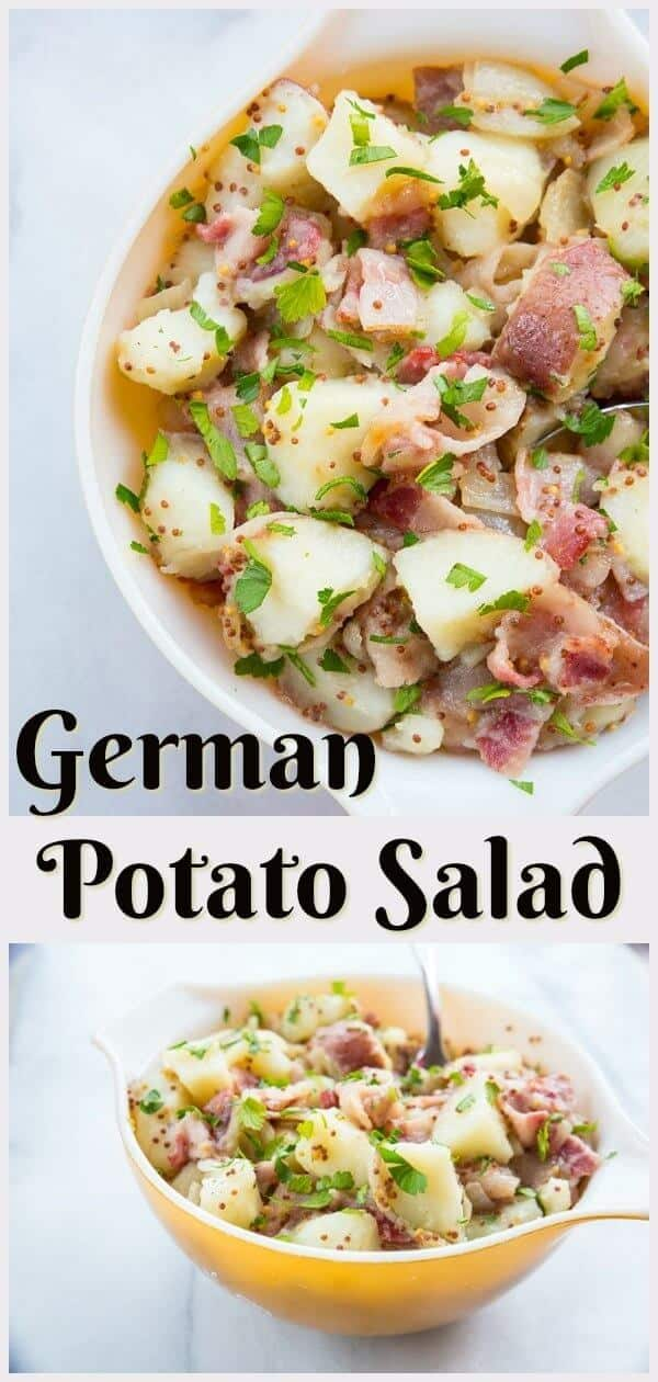 This German potato salad is tossed in a vinegar, onion and bacon dressing, with a whole grain mustard added in for a delicious, crunchy kick! #potato #salad #recipe #german #picnic #food