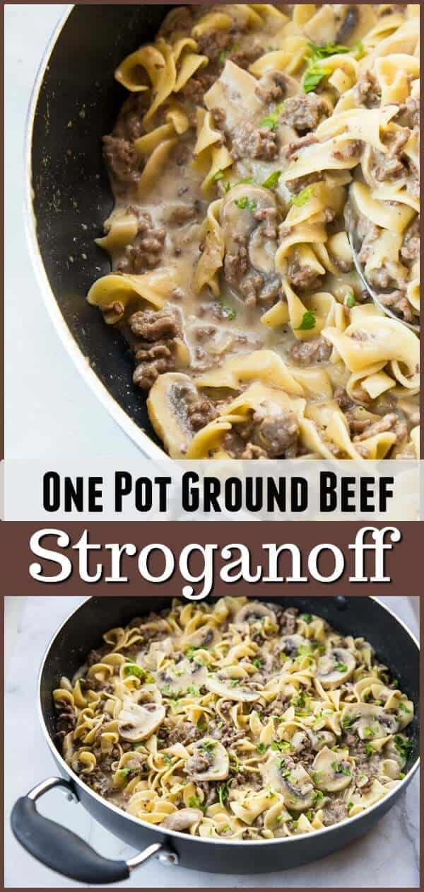 This one pot rich & creamy ground beef stroganoff has a secret ingredient that makes this the BEST stroganoff ever! #groundbeef #beef #stroganoff #pasta #recipe #skillet