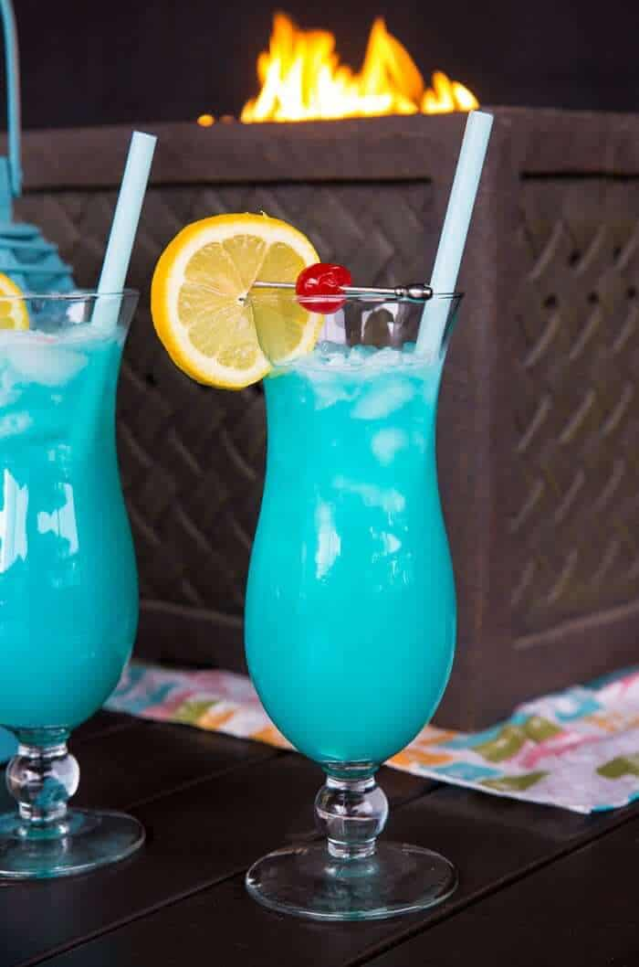 Close up of a Blue Lagoon Cocktail