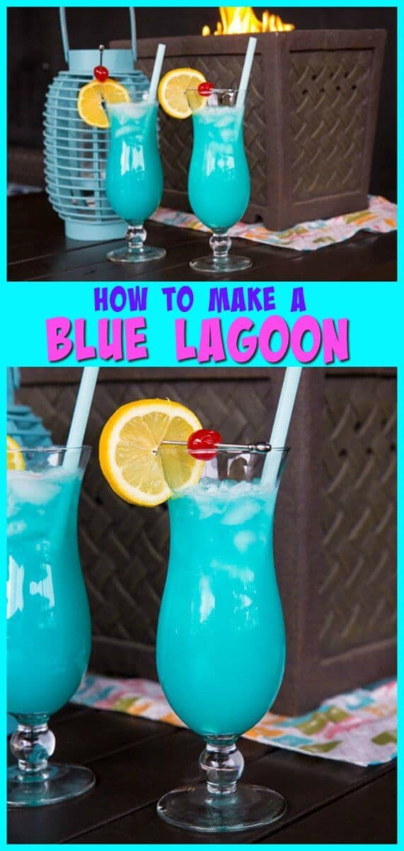 The Blue Lagoon cocktail is a warm weather favourite! Only three ingredients and you will be sipping on this delicious drink! #cocktail #blue #patio