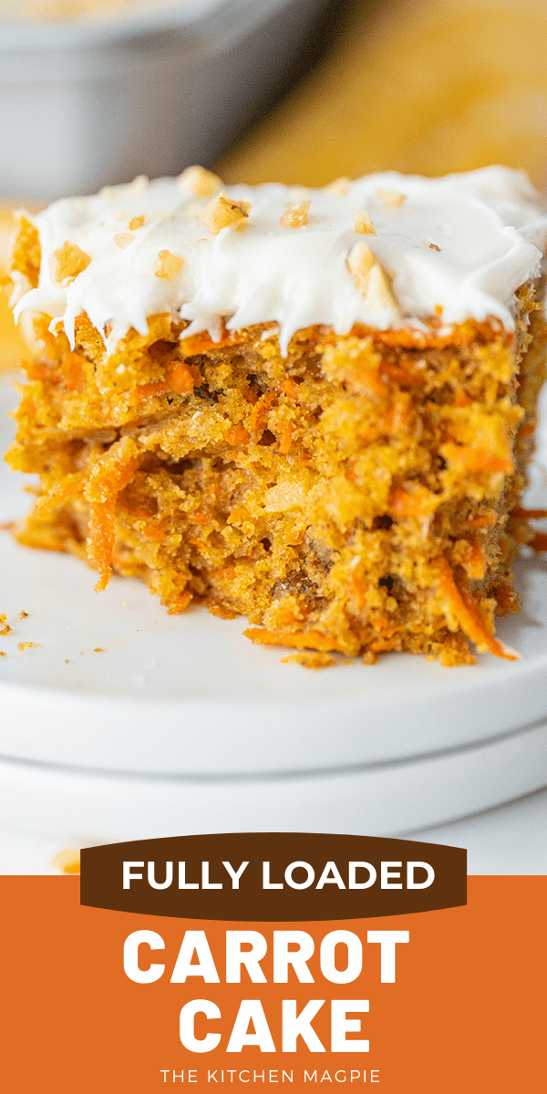 How to Make the BEST carrot cake! This carrot cake is fully loaded with everything delicious about a carrot cake- pineapple, raisins and more! #cake #dessert #carrotcake