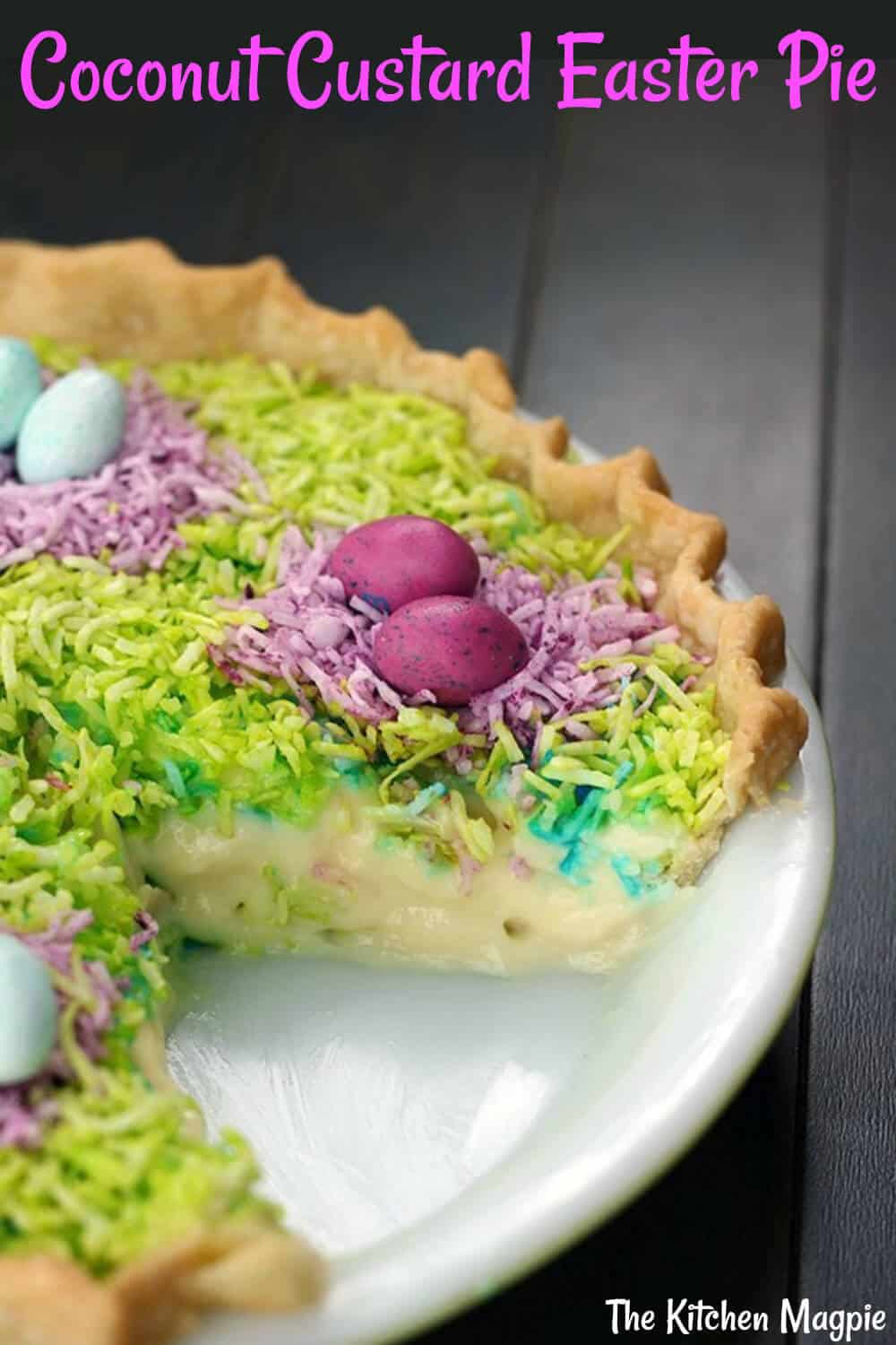 This gloriously colored Coconut Custard Easter Pie is sure to be the hit of your Easter dinner! Easy, fast and delicious! #dessert #easter #coconut #pie