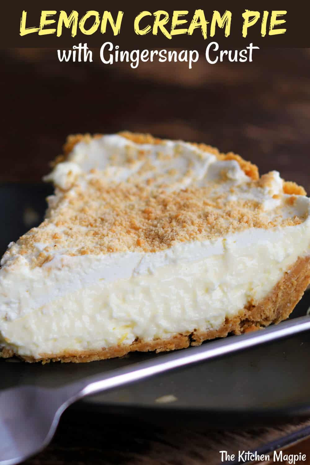 Lemon Cream Pie With Spice Cookie Crust is the perfect combination! Creamy lemony filling is paired with a snappy, spicy cookie crust! #lemon #pie