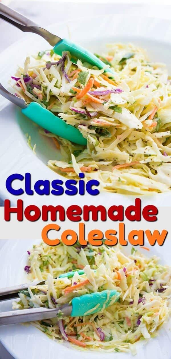 This Classic Homemade Coleslaw Recipe tastes just like Grandma used to make! The secret is always using celery seeds, I just can't have coleslaw without them! #coleslaw #salad #BBQ #picnic #cabbage #carrots #vegetables