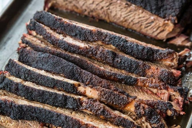 Close up of Dry Rub Smoked Brisket Slices