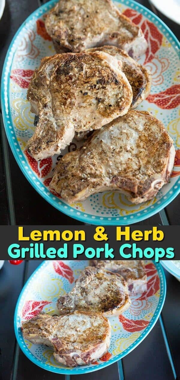 A simple lemon and herb marinade makes these grilled pork chops flavourful and juicy! #pork #porkchops #grilling #bbq #picnic #summer #cooking #recipe #lemon #herbs #garlic