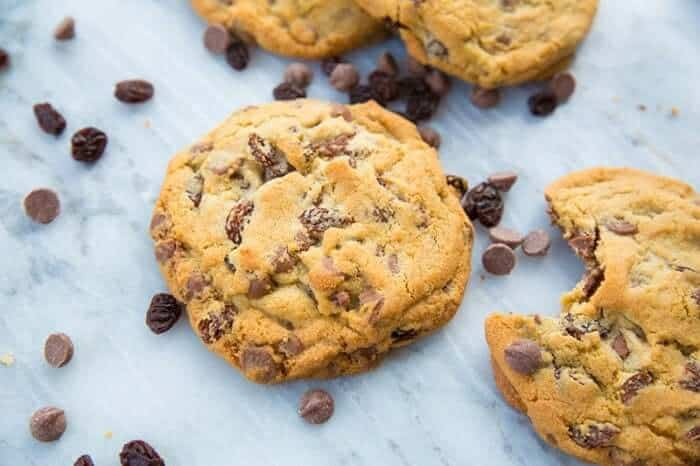 Milk Chocolate Chip Cookies with Raisins on Marble background
