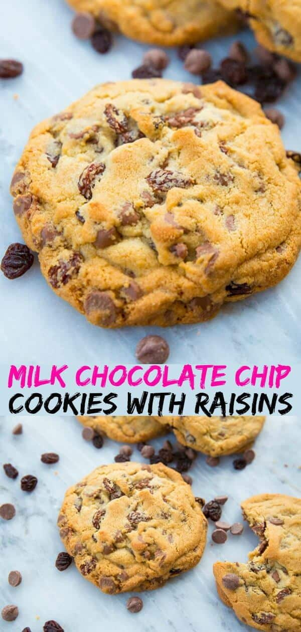 These Milk Chocolate Chip Cookies with Raisins taste like eating Glosette chocolate covered raisins in a cookie! If you love raisins, this is the chocolate chip cookie for you! #chocolate #cookie #recipe #raisins #chocolatechipcookie #dessert #baking