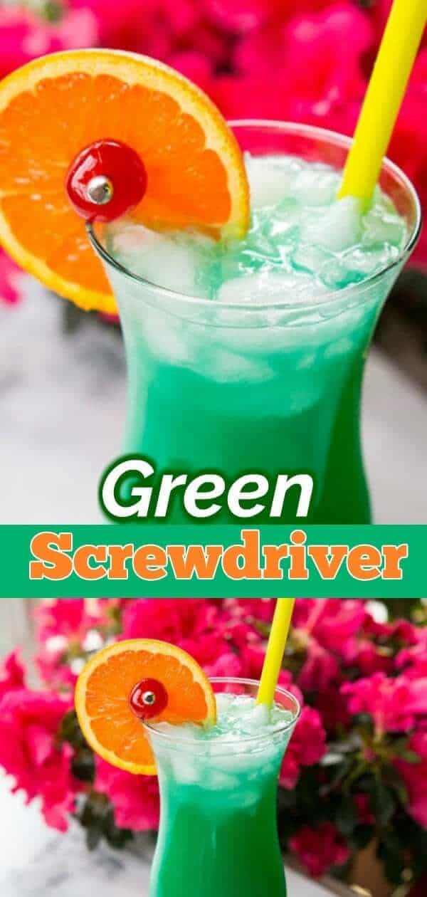 The Green Screwdriver cocktail is a great summertime cocktail that's perfect for lounging on the deck or at the pool. Made with Vodka, Curacao, Orange Juice and lemon lime soda, it's a fabulously simple cocktail to put to make. #vodka #cocktails #cocktailtime #recipe #lemonlime #drink