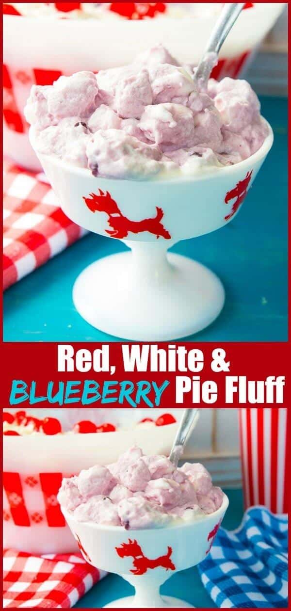 This Red, White and Blueberry Pie Marshmallow Fluff is perfect for patriotic picnics, the Fourth of July or any day when you want a great marshmallow fluff dessert! #july4th #patriotic #FourthofJuly #USA #dessert #blueberry #pie #fluff #marshmallows #sweet #salad #dessertsalad