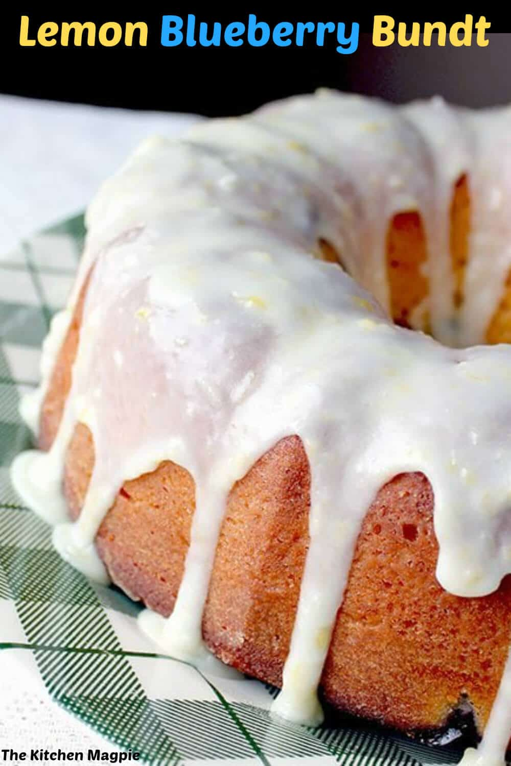 Greek yogurt is the secret to this amazingly moist cake. Tangy, sweet and the lemon glaze is to die for. #lemon #bundt #blueberry
