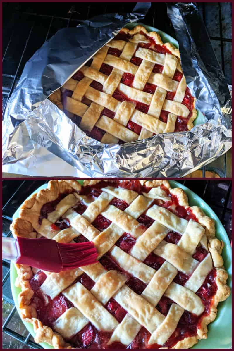 covering pie crust with tinfoil and brushing pie crust with egg yolk