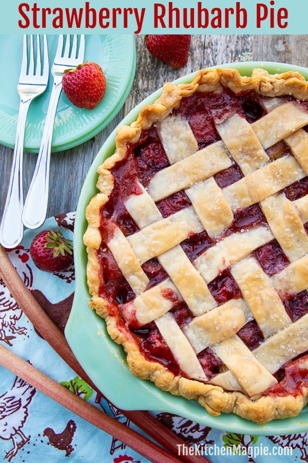Nothing tastes like spring and summer like a Strawberry Rhubarb Pie - one of my favorite treats is those fresh strawberries and rhubarb baked up in a flaky pastry pie crust.  #rhubarb #strawberry #pie