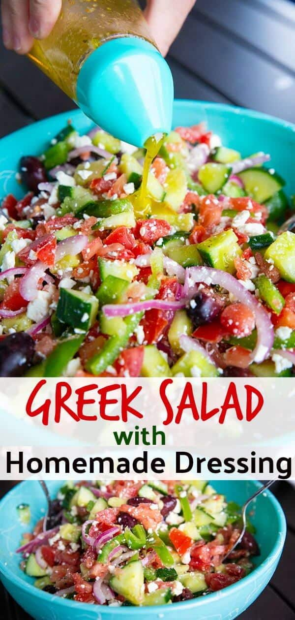 There is nothing like a classic Greek Salad with Homemade Greek Salad Dressing. This is a great recipe to get your kids to make for dinner! #greeksalad #dressing #homemadedressing #healothy #tomatoes #cucumber #olives #oliveoil #basil #oregano #heathyrecipe #recipe #salads