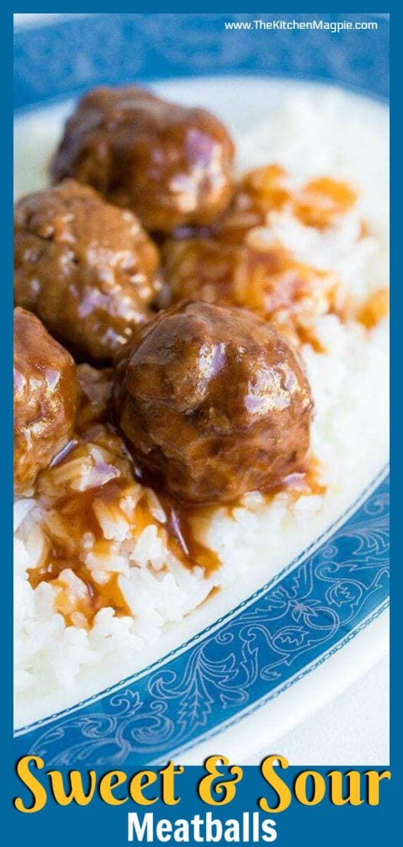 My Mom's sweet and sour meatballs recipe. These meatballs are baked in the oven in a retro sweet and sour sauce that can't be beat! #meatballs #sweetandsour