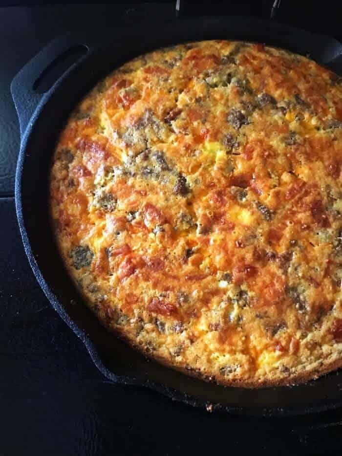 close up of Leftover Meatloaf Quiche in a cast iron skillet