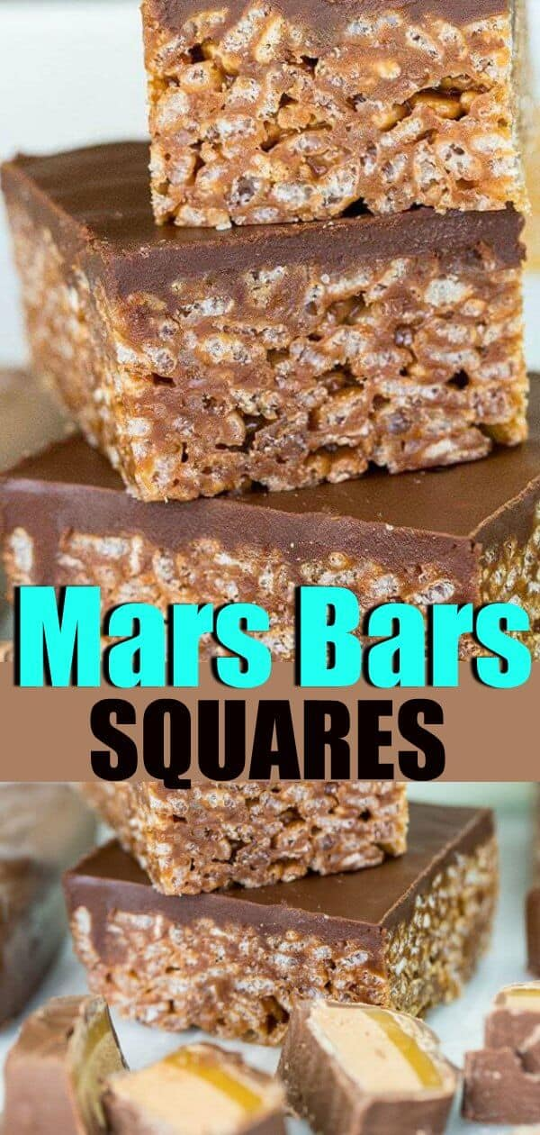 Mars Bars Squares, just like Grandma used to make! #sweets #chocolate #candybars #sqaures #dessert #treat #recipe #bars #ricekrispies #ricekrispiesquares #nobakedessert #nobake #picnic