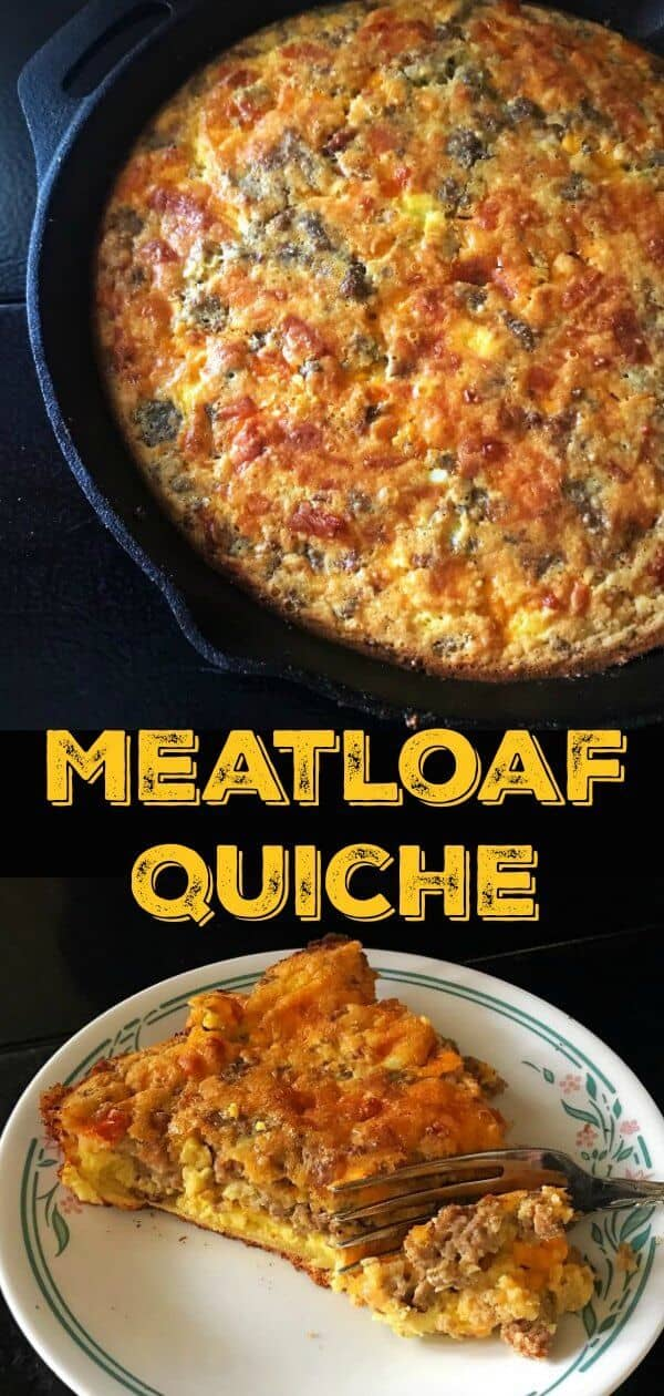 This Leftover Meatloaf Quiche Recipe uses up leftover meatloaf and makes a fabulous meaty breakfast the next day! #meatloaf #groundbeef #groundturkey #eggs #breakfast #brunch #quiche #milk #dinner #recipe #supper #skillet
