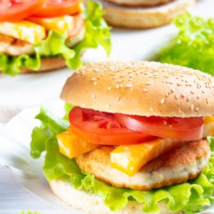 Turkey Burgers with slices of tomatoes and cheese
