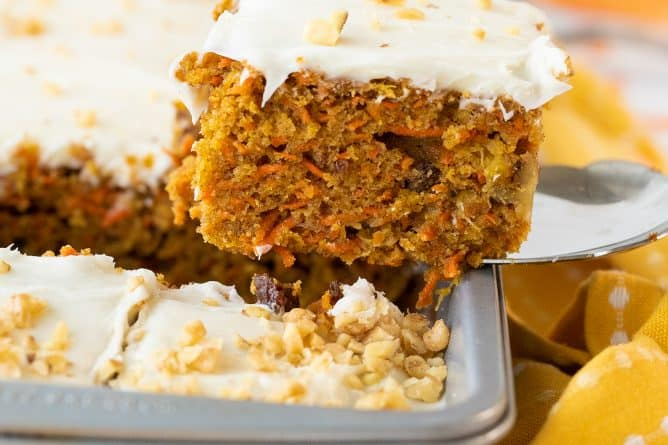 carrot cake on a lifter