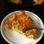 close up of a Slice of Leftover Meatloaf Quiche on a Corelle plate