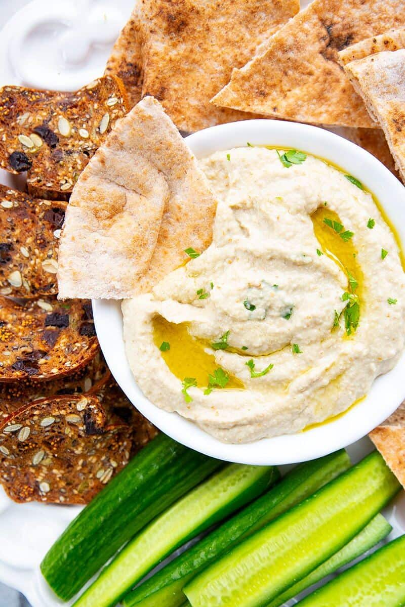 Baba Ganoush with oven baked pita chips