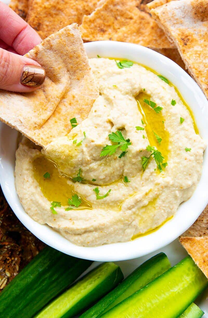 Baba Ganoush with olive oil and cucumbers