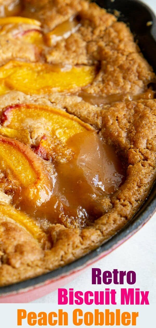 This Bisquick Peach Cobbler Recipe is most likely something that your Grandma whipped up in the 1960's or 70's and it is still delicious and easy to make today! #bisquick #peach #cobbler #dessert #peaches #fruit #baking #brownsugar #recipe