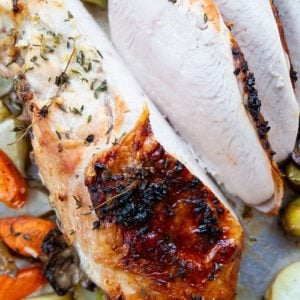 sliced Roast Turkey Breast with Buttery Herb & Garlic