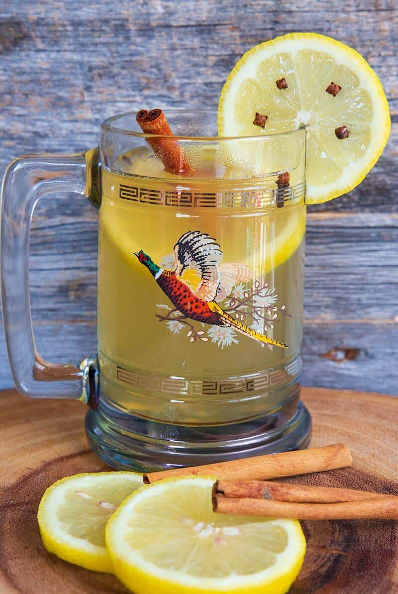Close up of the Hot Toddy with cinnamon sticks and slices of lemon