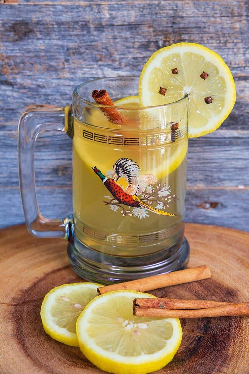 Hot Toddy, Garnished with slices of lemon and cinnamon sticks Ready to Drink
