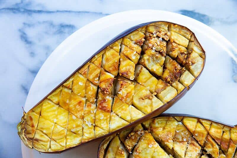 Roast and Cook Eggplant with inner sliced in a diamond pattern