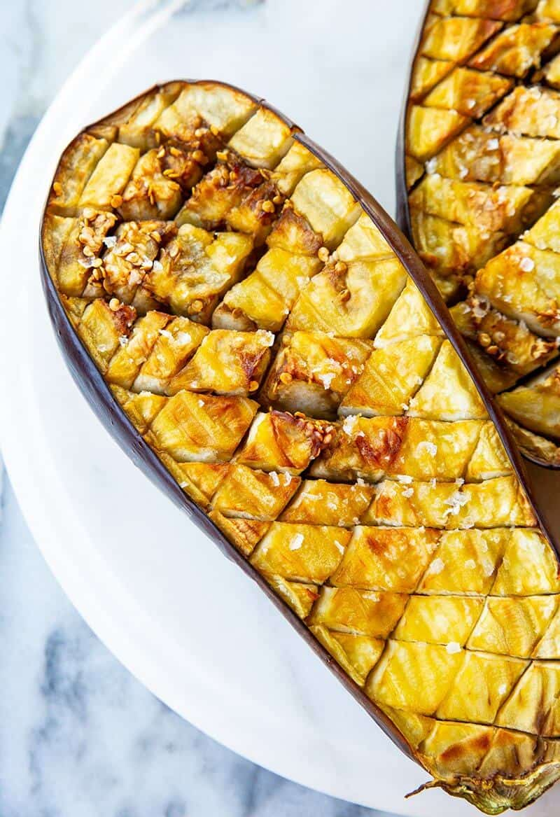 Browned and Roasted sliced of eggplant with a diamond pattern