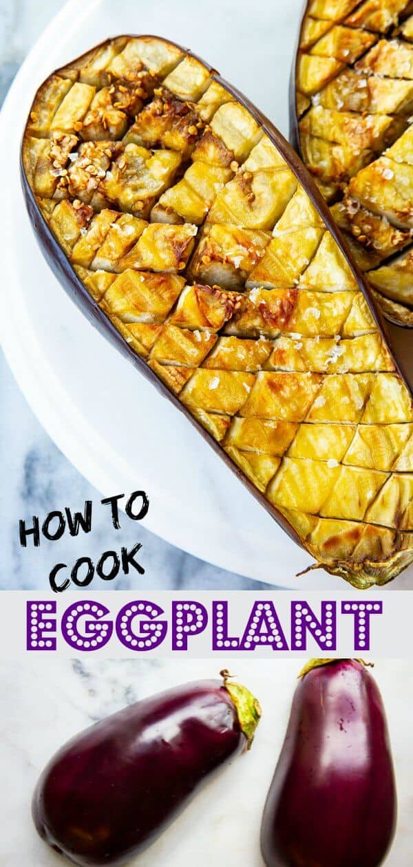 How to Roast and Cook Eggplant. Roasting and cooking eggplant is SO easy, have no fear! This oven method is for those of you that don't have grills or open fires that are required to traditionally roast eggplant and get it ready for Baba Ganoush! #eggplant #vegetable #healthy #vegetarian #vegan #howto #cooking #recipe #babaganoush