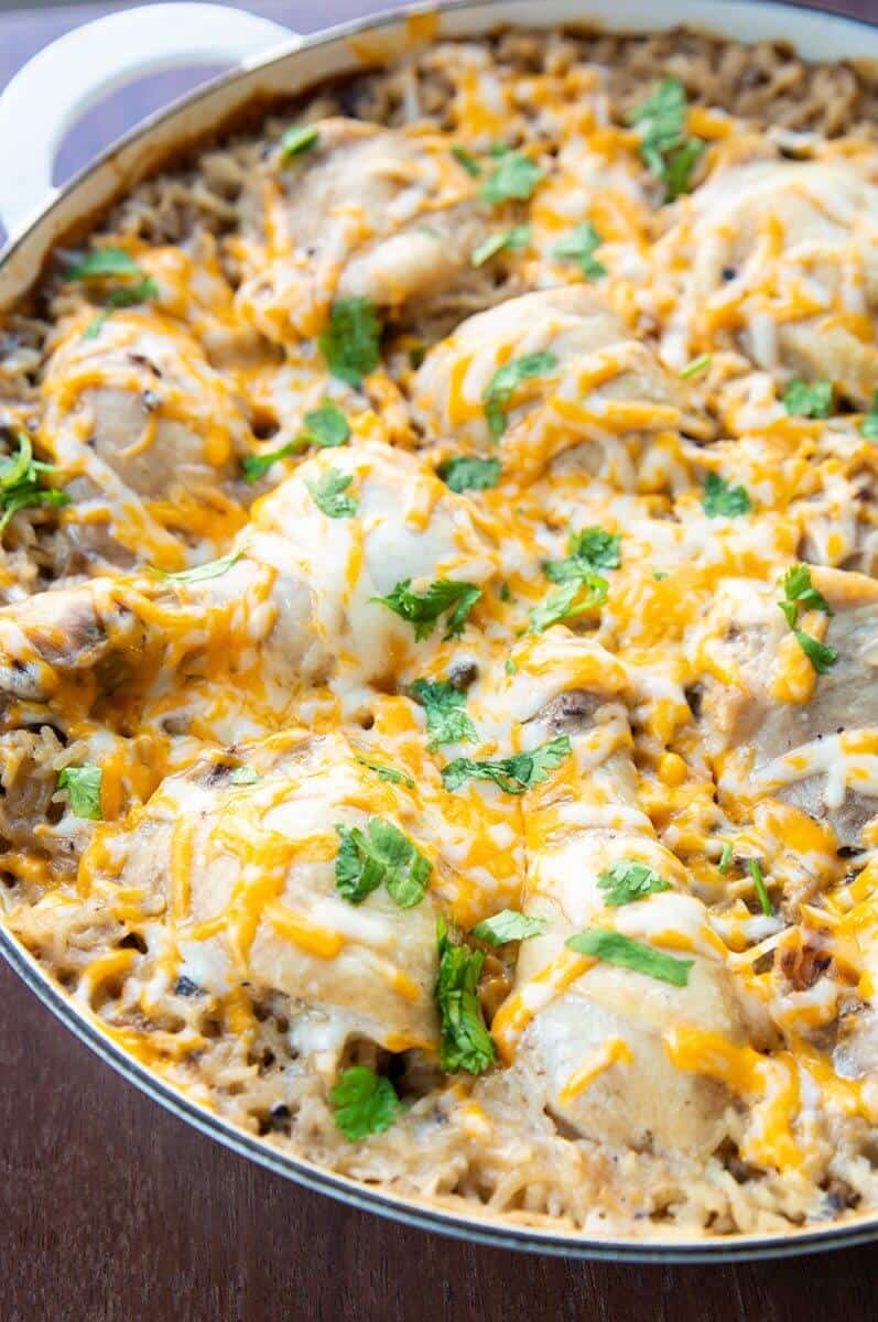 Chicken & Rice Casserole with melted sprinkled cheese on top