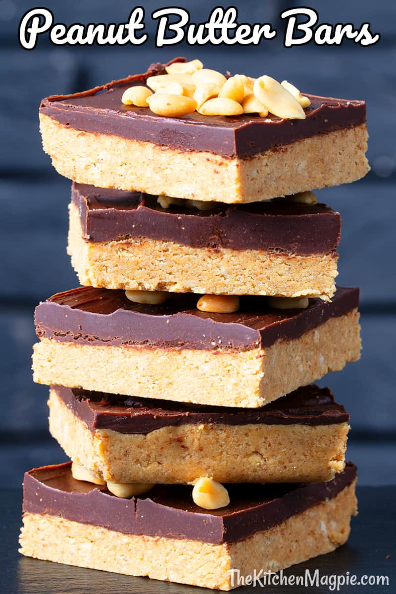 The classic no bake peanut butter bars using peanut butter, powdered sugar and crushed graham crackers with a chocolate peanut butter topping!