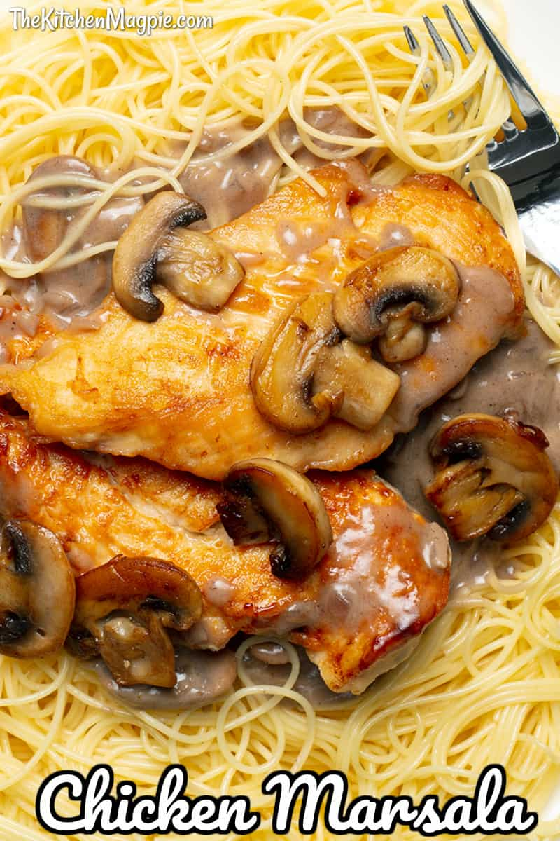 Fast and easy chicken Marsala with a deliciously creamy mushroom sauce, served over angel hair pasta - a dish that the whole family will love!