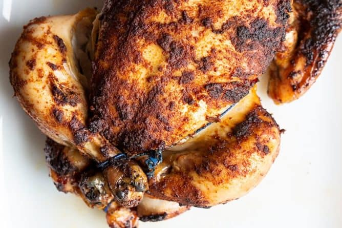 Slow Cooker Rotisserie Chicken in a white plate