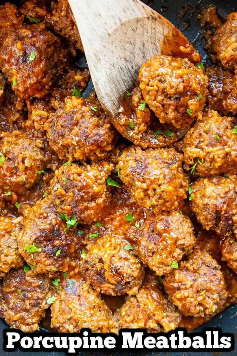 How to make classic porcupine meatballs! These rice filled meatballs with tomato sauce are a one of my favourite recipes from my childhood!