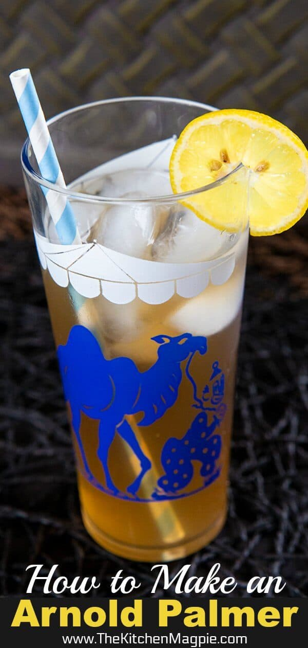 The Arnold Palmer Drink is a mocktail (non-alcoholic drink) made from combining equal amounts of iced tea and lemonade. It's an American classic! #mocktail #drink #lemonade #icedtea #arnoldpalmer #nonalcoholic