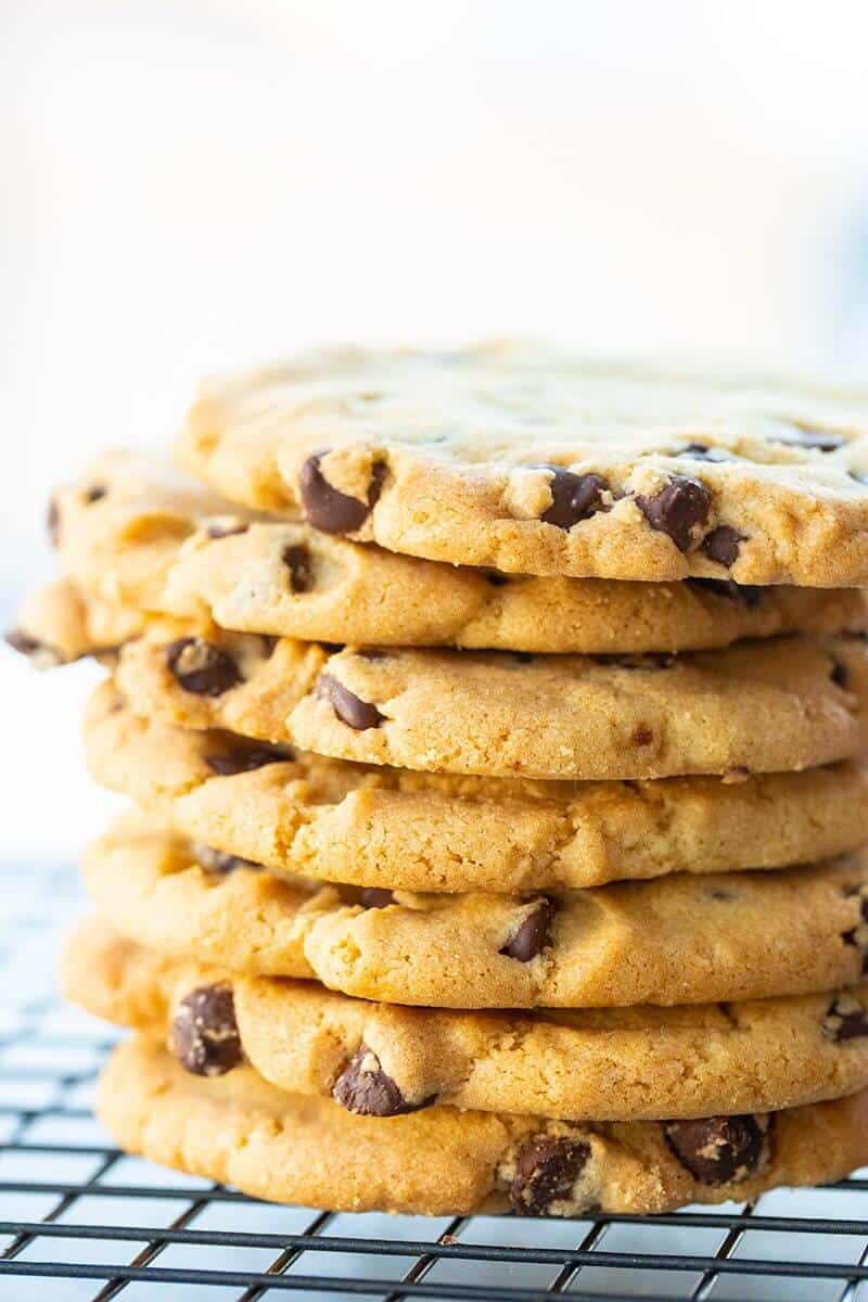 close up stack of Crispy Chocolate Chip Cookies