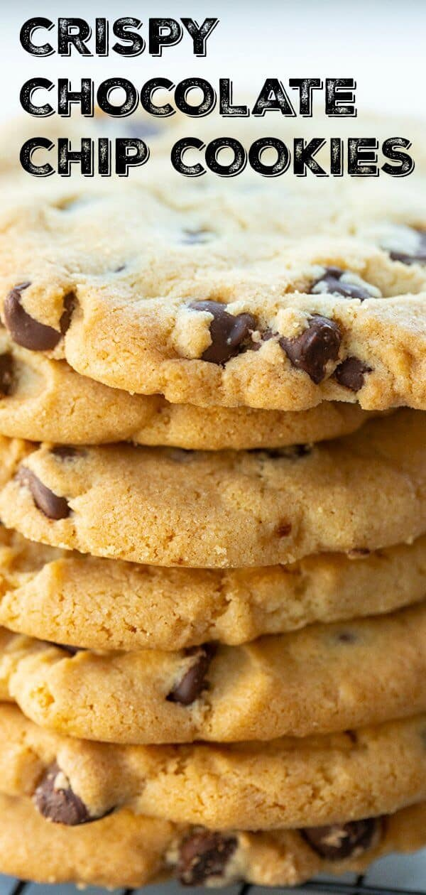 My absolute favorite chocolate chip cookie recipe, it makes buttery, crunchy, heavenly chocolate chip cookies! Simply to die for! #cookies #crispy #chocolatechip #chocolatechipcookies #baking #dessert #sweet #treat